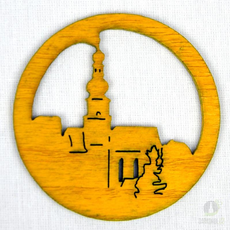 Suvenýry Žďár nad Sázavou - Ozdoba Kostel v kruhu žlutý