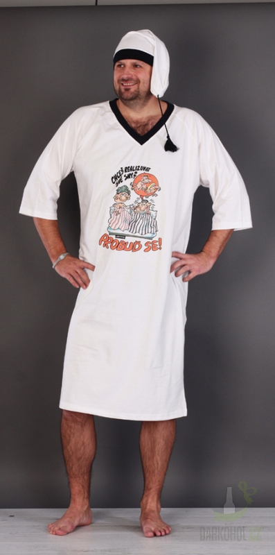 Hlavní kategorie - Noční košile bílá s čepičkou- Probuď se