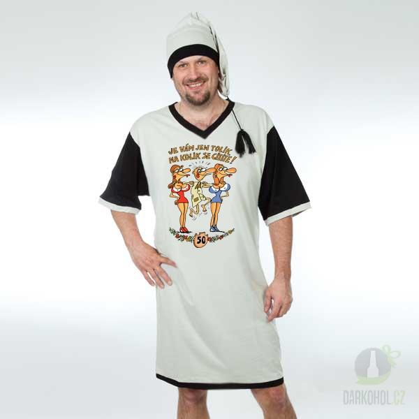 Hlavní kategorie - Noční košile šedá s čepičkou-Výročí muž 50