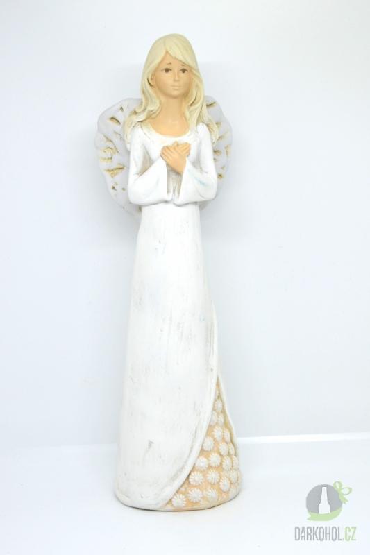 Hlavní kategorie - Anděl bílé šaty kytky dole 32cm