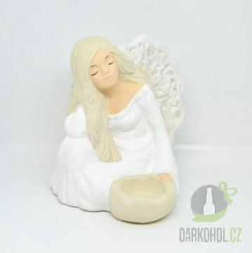 Hlavní kategorie - Anděl Funia sedící svíčka bílý