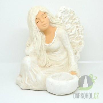 Hlavní kategorie - Anděl Funia svícen sedící , ruka pod hlavou