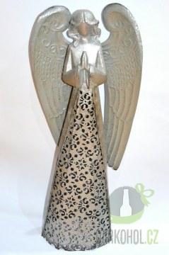 Hlavní kategorie - Anděl plech krajka 48cm šedý