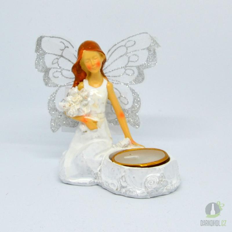 Hlavní kategorie - Anděl  Beata svíčka u nohy, 12cm, polystone