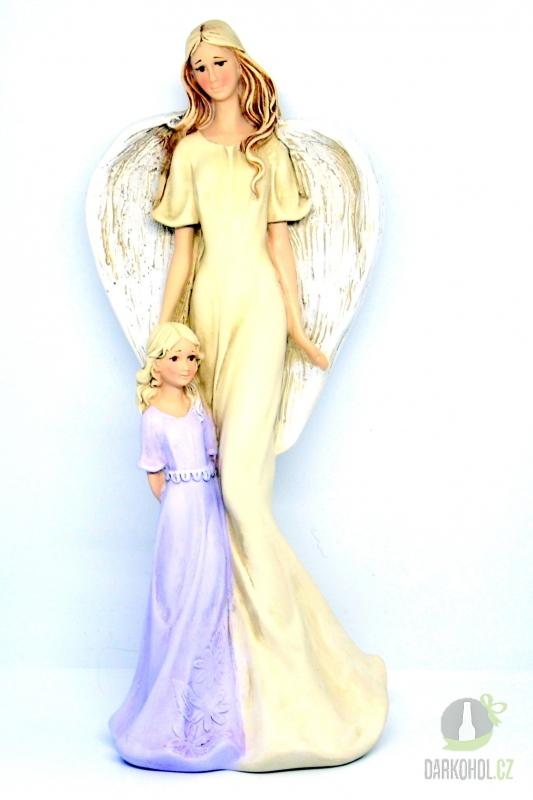 Hlavní kategorie - Anděl s holčičkou- fialové šaty,35cm,polyston