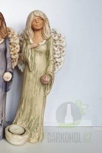 Hlavní kategorie - Anděl sádrový zelený se svíčkou u nohy