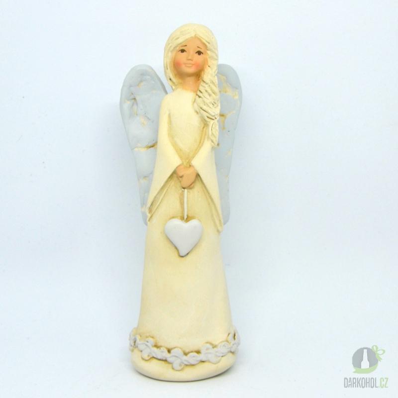 Hlavní kategorie - Anděl srdce na provázku béžový 20 cm