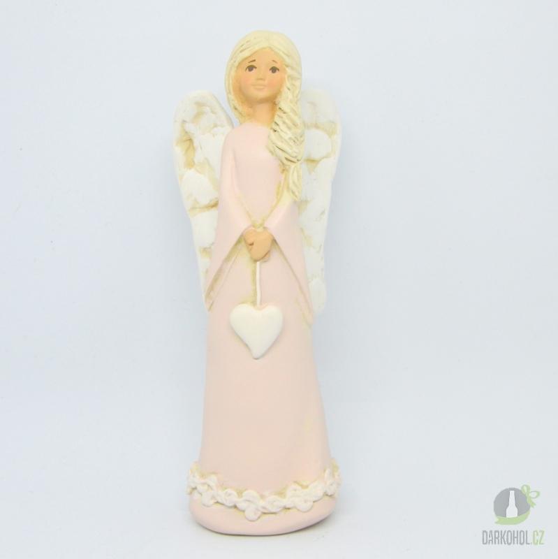 Hlavní kategorie - Anděl srdce na provázku růžový 20 cm