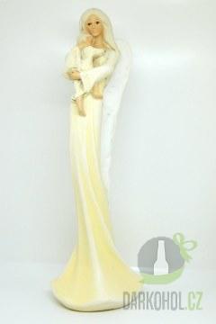 Hlavní kategorie - Anděl stojící s dítětem - béžový, 36 cm, polystone