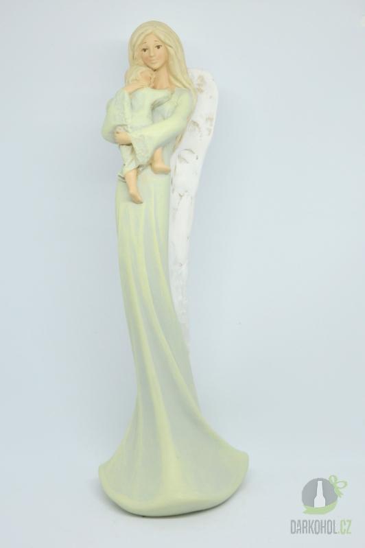 Hlavní kategorie - Anděl stojící s dítětem - zelený, 36 cm, polystone