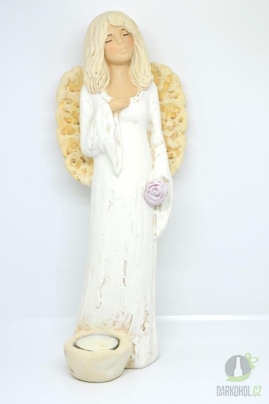 Hlavní kategorie - Anděl stojící-svíčka u nohou bílý