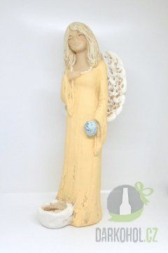 Hlavní kategorie - Anděl sádrový oranžový se svíčkou u nohy