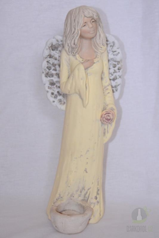 Hlavní kategorie - Anděl sádrový  žlutý se svíčkou u nohy