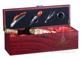 Hlavní kategorie - Dřevěný Box na 1 láhev mahagon s příslušenstvím