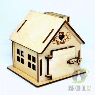 Hlavní kategorie - Dřevěná gravírovaná pokladnička na boku pro štěstí