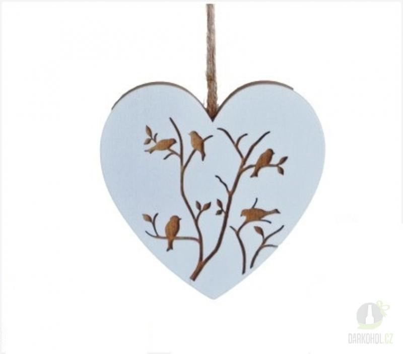 Hlavní kategorie - Srdce dřevěné závěs s ptáčky