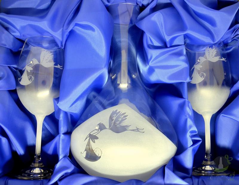 Hlavní kategorie - Souprava karafa pískovaná dvě sklenice s kamínky na víno čáp