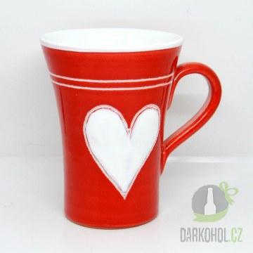 Hlavní kategorie - Hrnek velký červený bílé srdce
