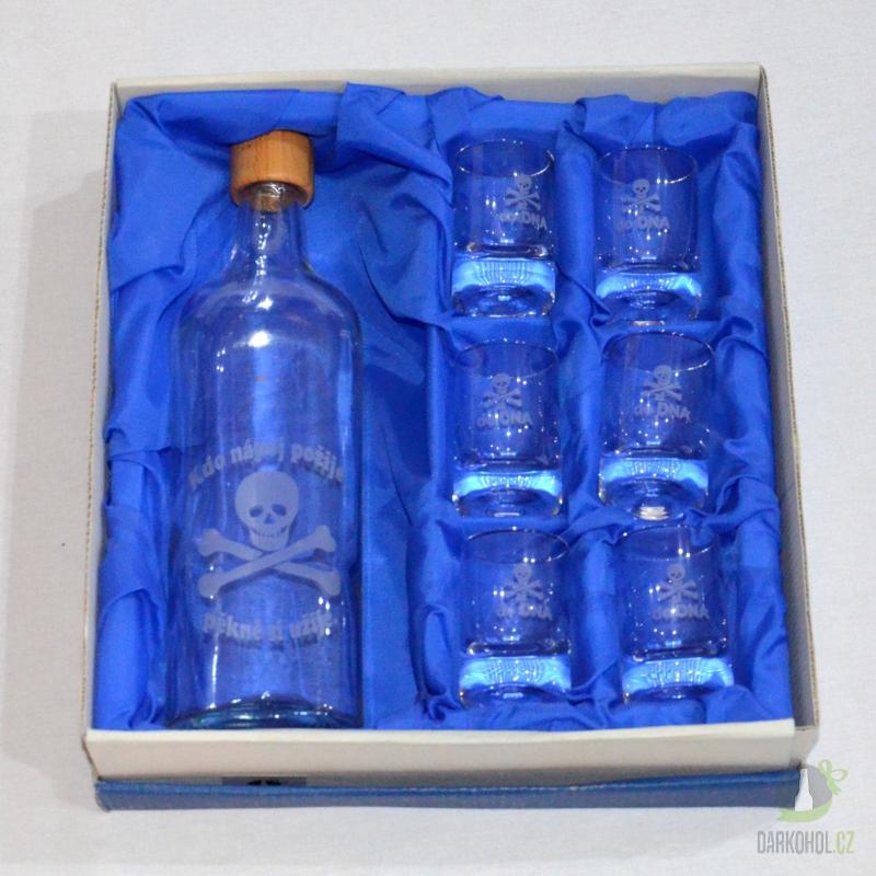 Hlavní kategorie - Souprava pískovaná láhev a šest panáků 0,5l Jed
