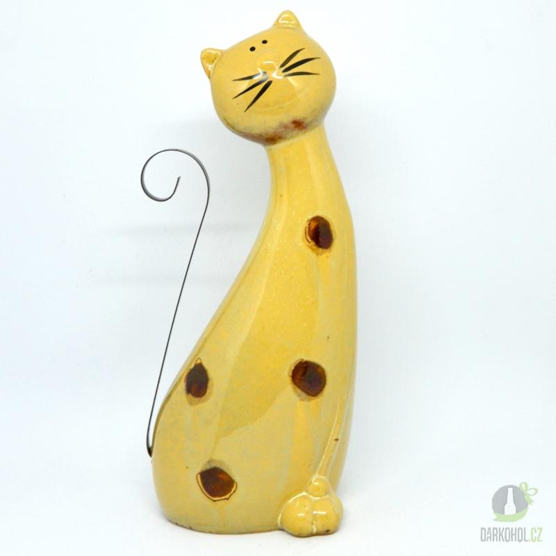Hlavní kategorie - Kočka keramika-hnědý puntík 25cm