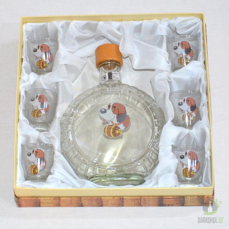 Hlavní kategorie - Souprava láhev budík +6 panáků Bernardýn