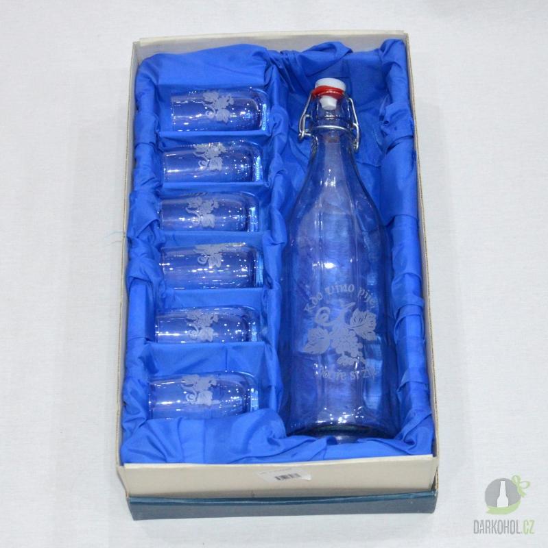 Hlavní kategorie - Pískovaná Lahev 1l +6 koštovaček víno- poslední kus!!!