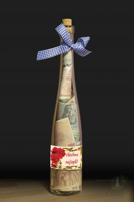 Hlavní kategorie - Láhev s bankovkami- Všechno nejlepší růže
