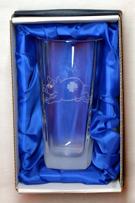 Hlavní kategorie - Sklenice pískovaná Long Stefanie Prasátko s kamínky-Poslední kus!