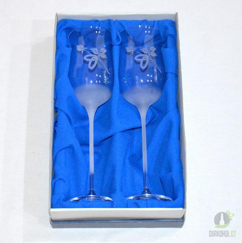 Hlavní kategorie - Pískované sklenice svatební na víno 0,2 l Růže s prstýnkem