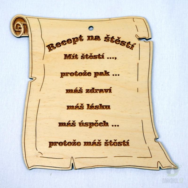 Hlavní kategorie - Dřevěný gravírovaný rámeček-recept na štěstí