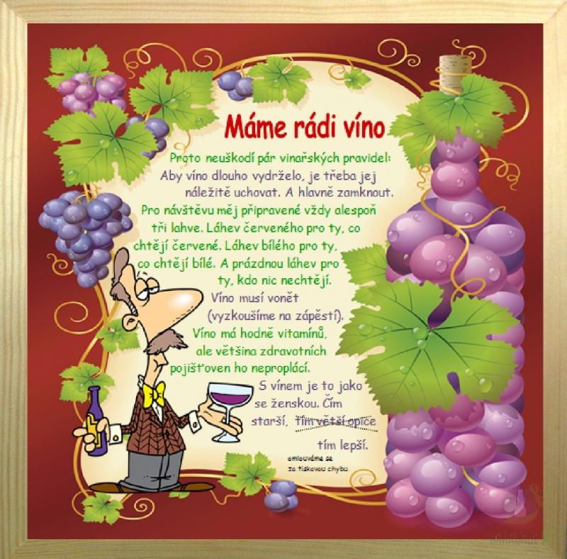 Hlavní kategorie - Rámeček velký-Máme rádi víno