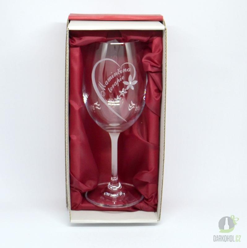 Hlavní kategorie - Pískovaná sklenice na víno Maminčina terapie