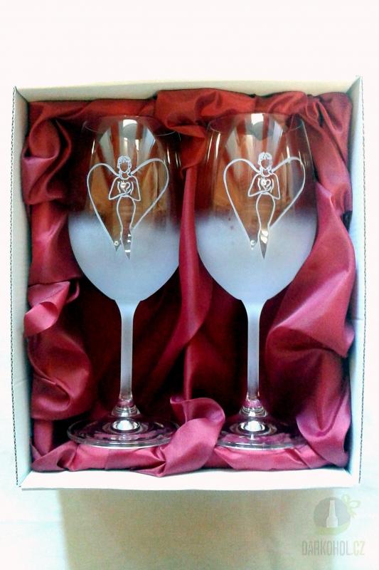 Hlavní kategorie - Sklenice pískované na víno - Anděl žena 0,3l