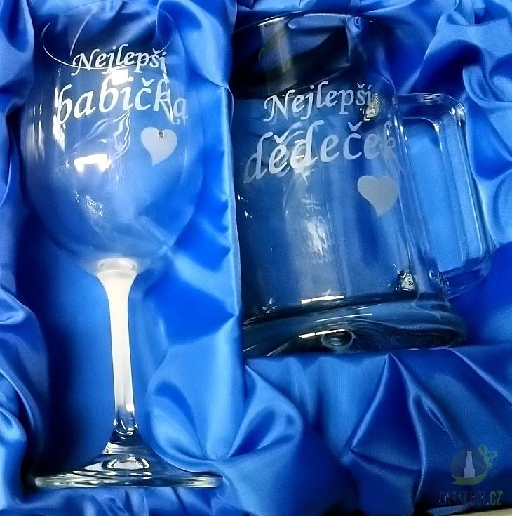 Hlavní kategorie - Sklenice na víno Babička / půllitr Dědeček