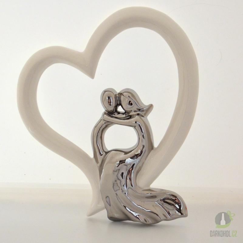 Hlavní kategorie - Socha pár v srdci  23 cm