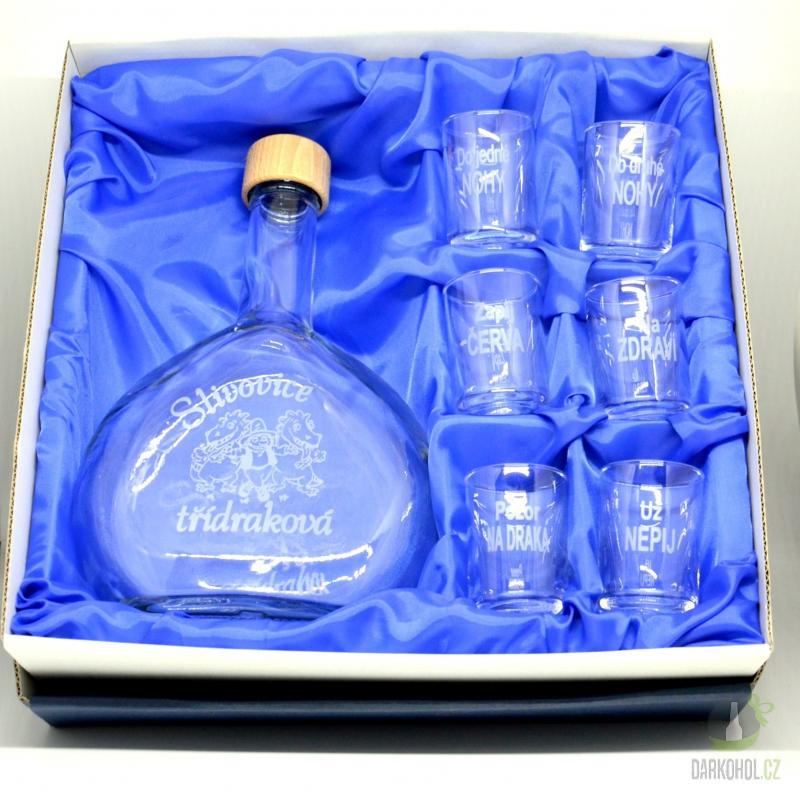 Hlavní kategorie - Malá sada láhev pískovaná Butylka a 6 panáků 0,5l  Drak