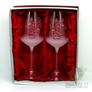 Hlavní kategorie - Svatební pískované sklenice na víno Já a Ty - My 0,3l