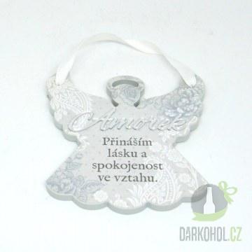 Hlavní kategorie - Závěsná plaketka anděl amorek bílá