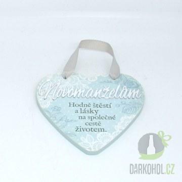 Hlavní kategorie - Závěsná plaketka srdce Novomanželům-poslední kus!