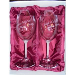 """Svatební pískované sklenice na víno  -"""" Když si báječnou ženskou..."""" 0,3l"""