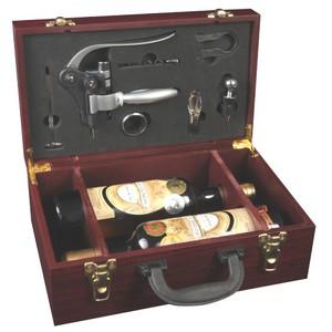 Dřevěný box na 2 lahve vína s příslušenstvím