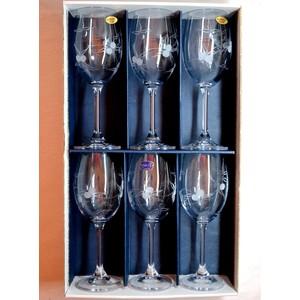 Ručně rytá sada sklenic na víno 6ks -Bobule 250ml