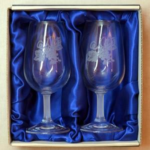 Sklenice pískované na víno dvě 0,2 Hroze