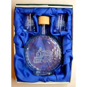 Souprava pískovaná láhev budík+2 panáky Vlak