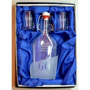 Malá sada láhev pískovaná Butylka dva panáky 0,2l 60 let- dárek k 60 narozeninám