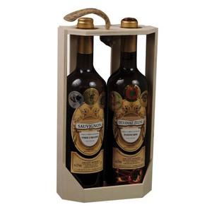 Dřevěný box na 2 lahve světlý