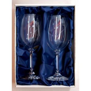 Ručně rytá sada sklenic na víno Přátelka -korále 350ml
