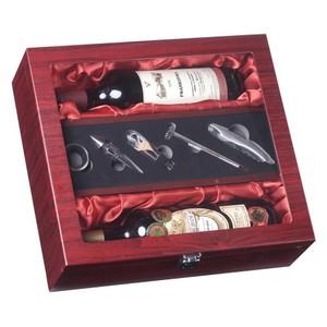 Dřevěný box na 2 lahve vína s příslušenstvím prosklený