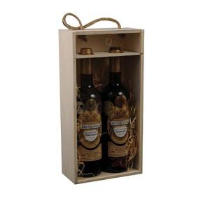 Dřevěný box na 2 lahve prosklený