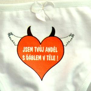 Kalhotky tanga bílé-Jsem tvůj anděl s ďáblem v těle-poslední kus!